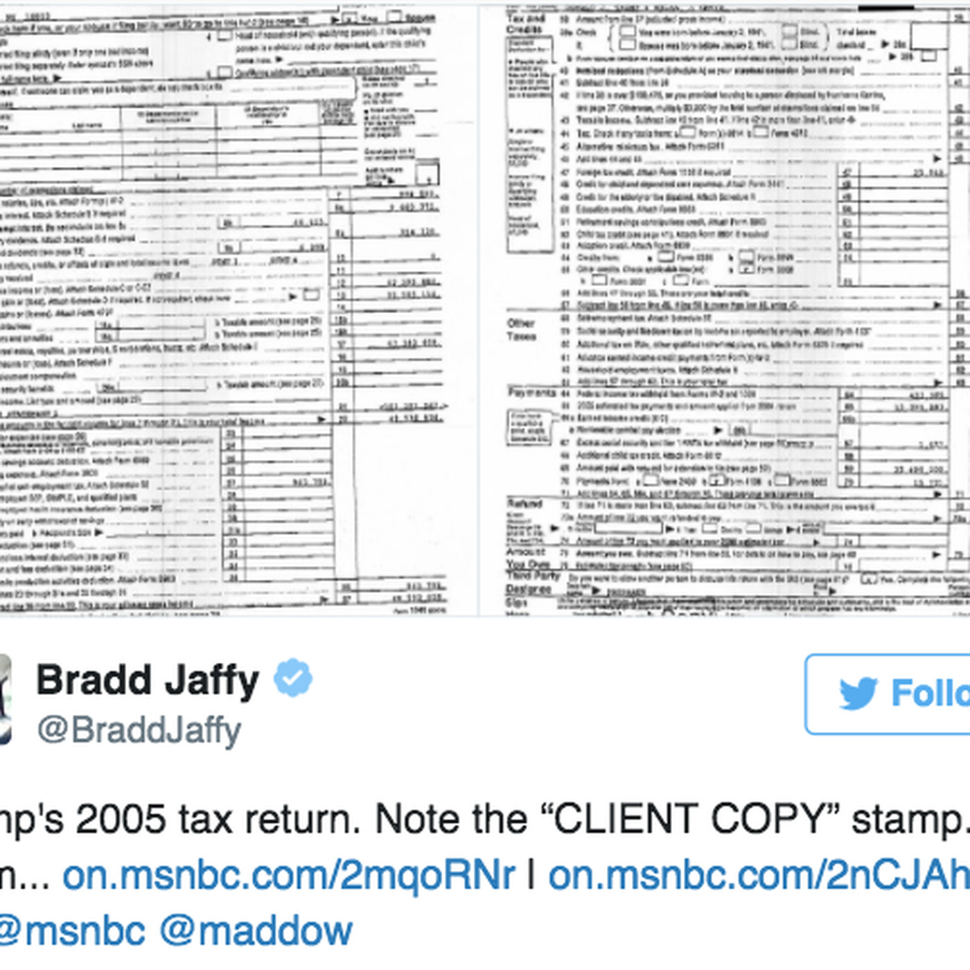 Read the leaked pages of Trump's 2005 tax returns - Vox