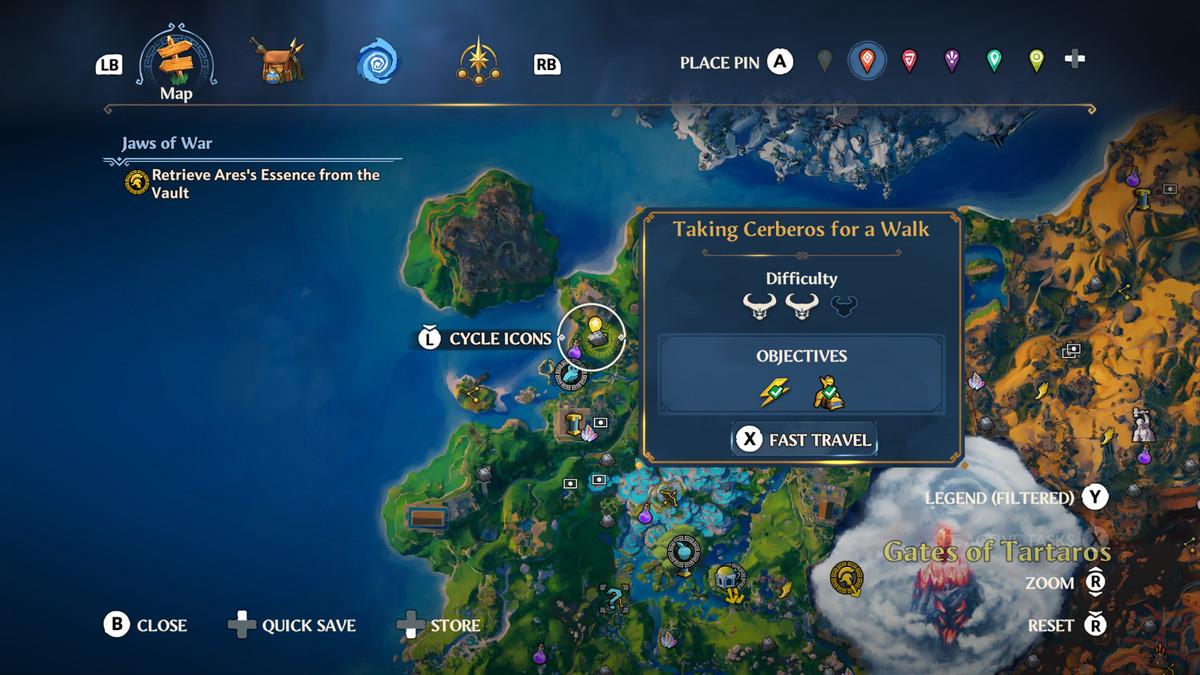 The map location of the Taking Cerberos for a Walk Vault of Tartarosin Immortals Fenyx Rising