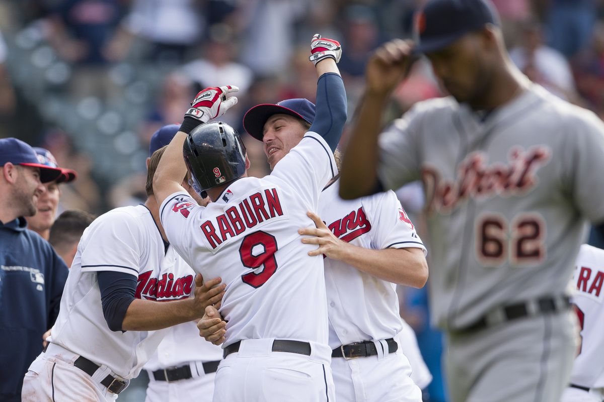 Why is Ryan Raburn celebrating? Read the first paragraph.