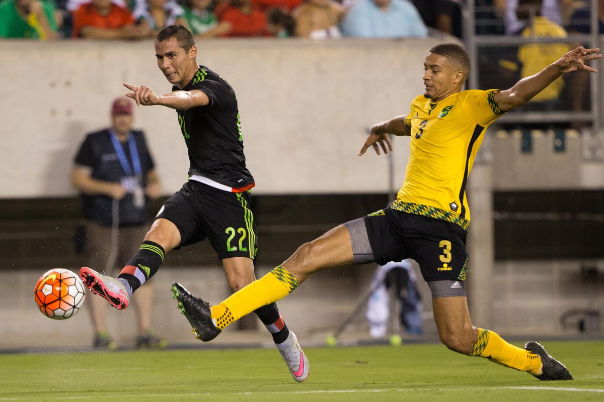 Hector (#3) in action for Jamaica in the 2015 Gold Cup final