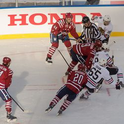 Backstrom and Toews Faceoff