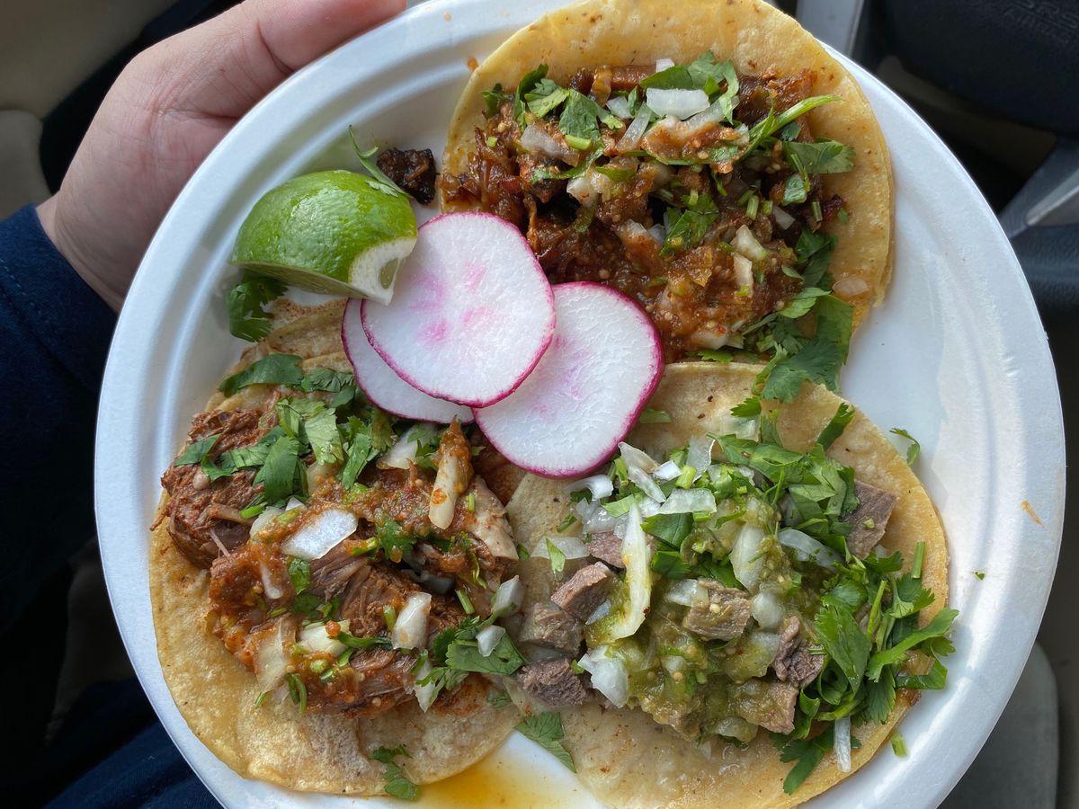 A trio of tacos from Tacos El Autlense