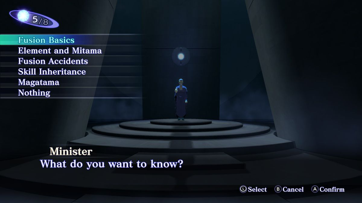 One of the menu screens related to the demon fusion of Shin Megami Tensei 3: Nocturne HD Remaster