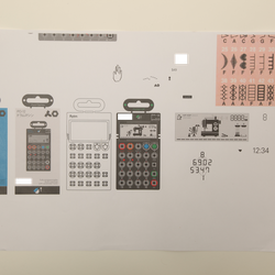 """The upper-right of this document shows different sewing machine patterns the Teenage Engineering team looked at for inspiration when creating the """"rhythm"""" screen design."""