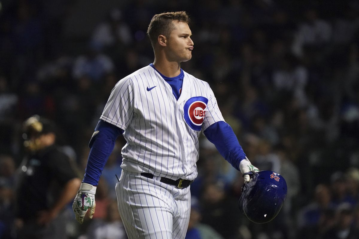 Joc Pederson of the Chicago Cubs reacts after his fly out during the eighth inning of a game against the Philadelphia Phillies at Wrigley Field on July 08, 2021 in Chicago, Illinois.