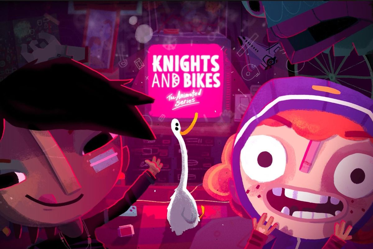 Knights and Bikes animated TV show logo, with two characters and a goose