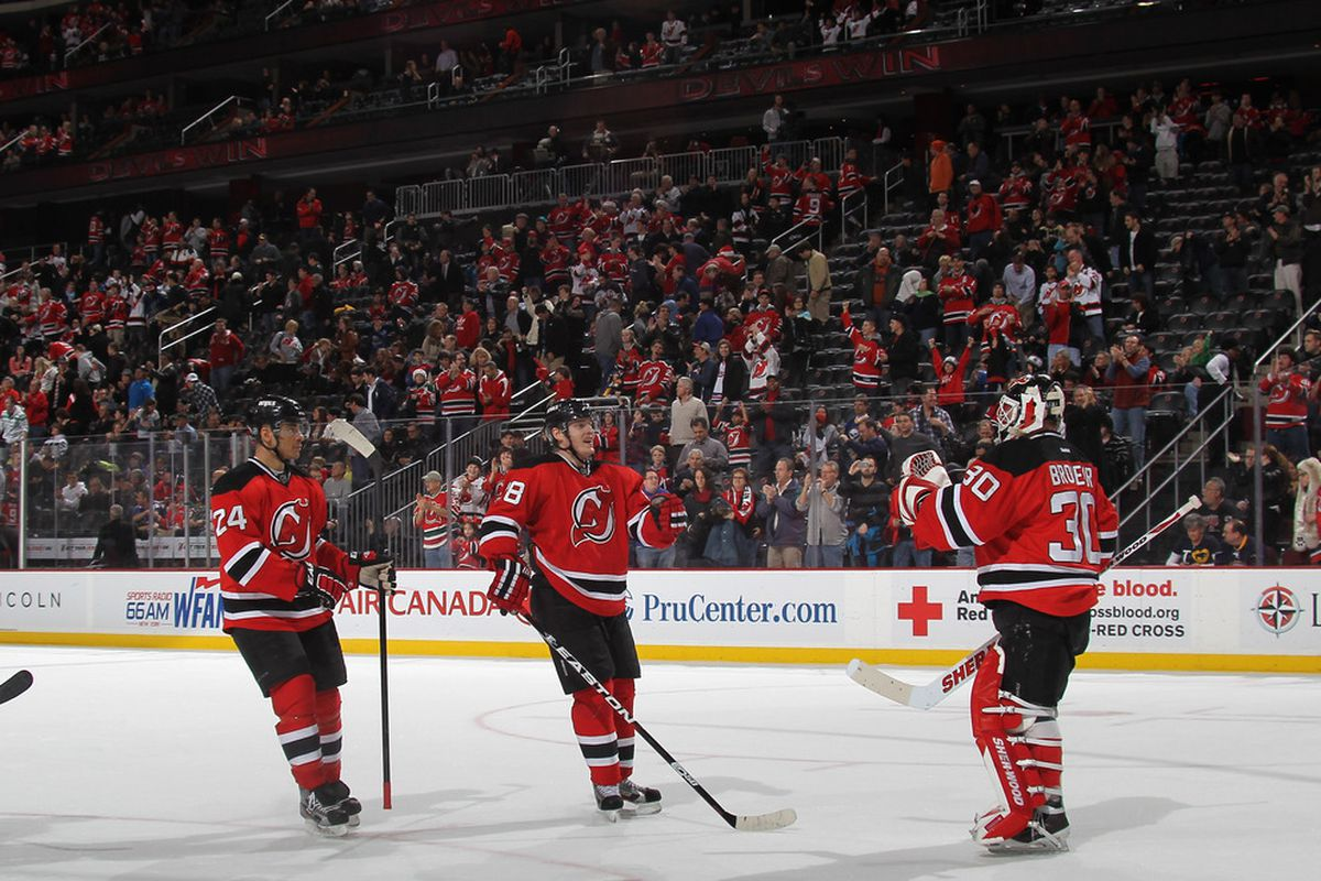 Celebration is in order; the Devils took a 3-1 lead into the third period and kept it.   (Photo by Bruce Bennett/Getty Images)