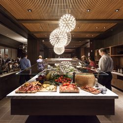 """The restaurant's """"market table,"""" also known as a salad bar."""
