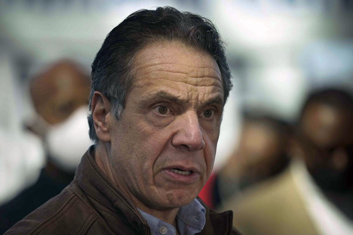 This Monday, March 8, 2021, file photo shows New York Gov. Andrew Cuomo speaking at a vaccination site in New York. A sixth woman has come forward alleging that Cuomo inappropriately touched her late last year, during an encounter at the governor's mansion.