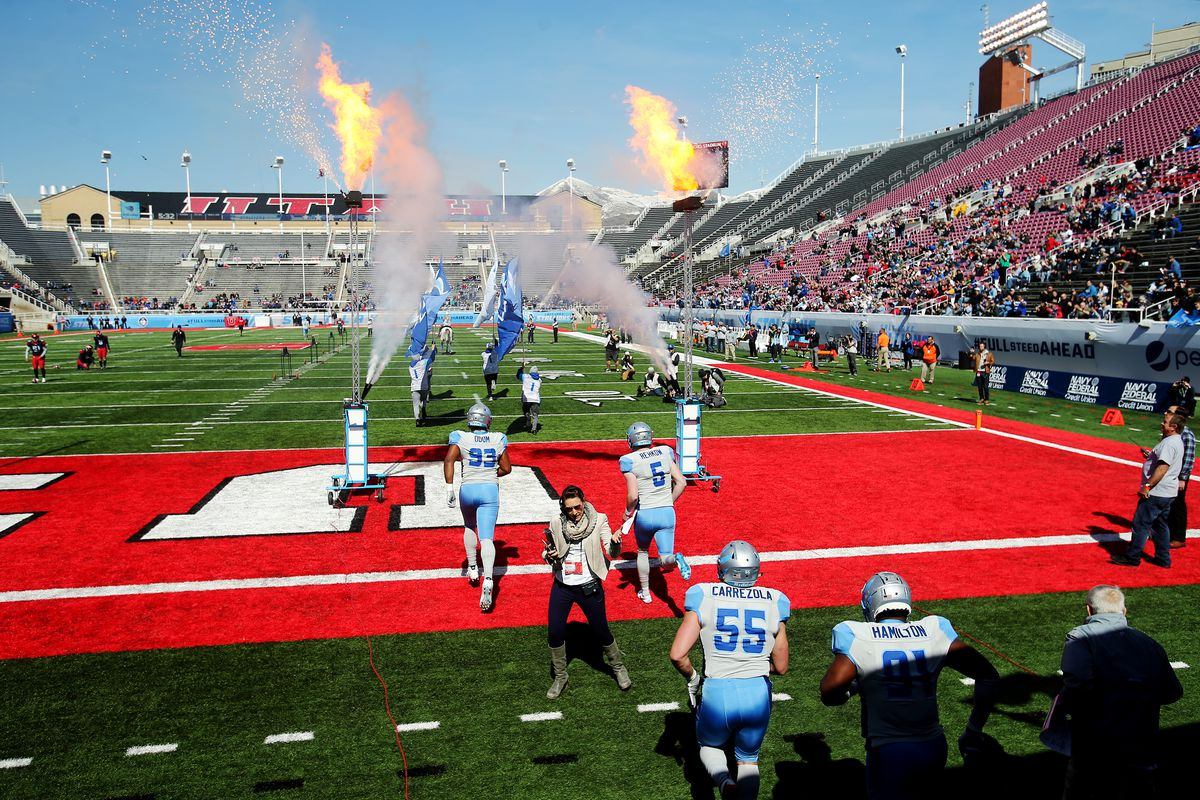 Stallions players take the field as the Salt Lake Stallions and the Memphis Express play in an AAF league game at Rice Eccles Stadium at the University of Utah in Salt Lake City on Saturday, March 16, 2019.