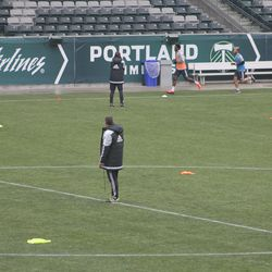 Porter stayed in the center circle for the entire fitness test.