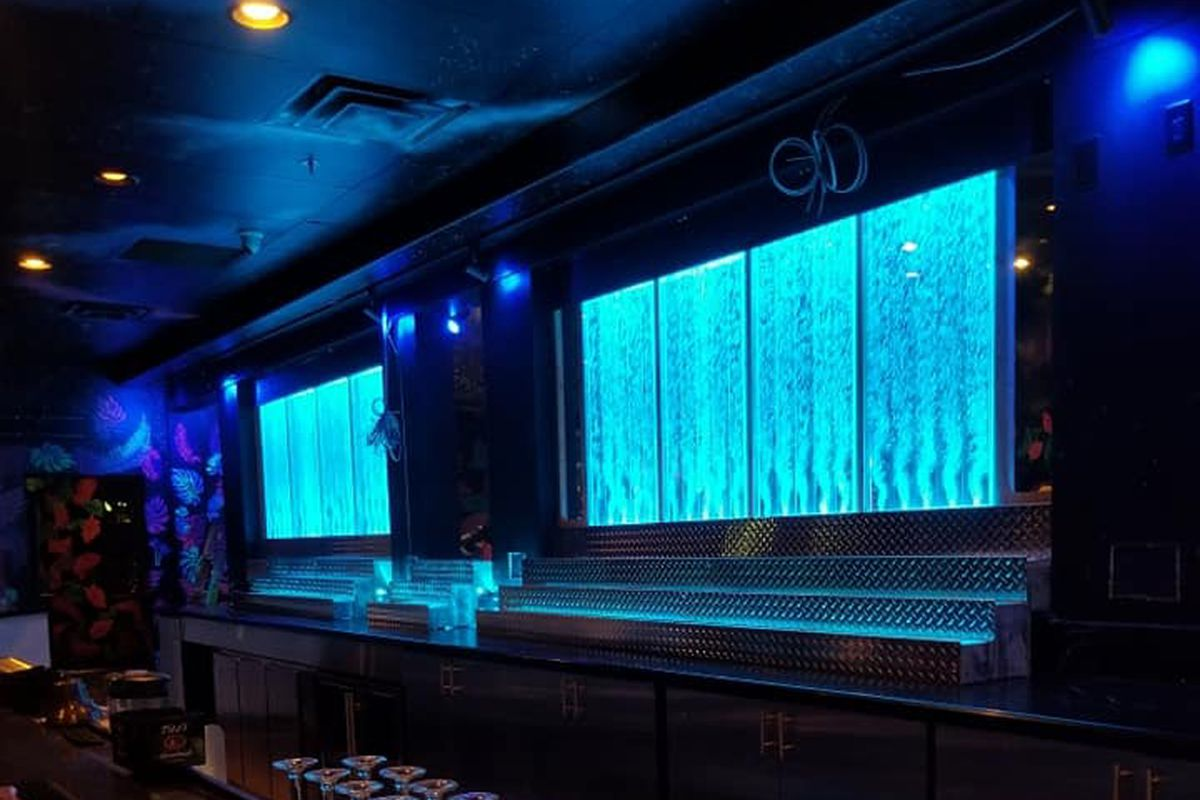 A wall of bubbles behind the bar at 9th Island LV, coming soon to Henderson.