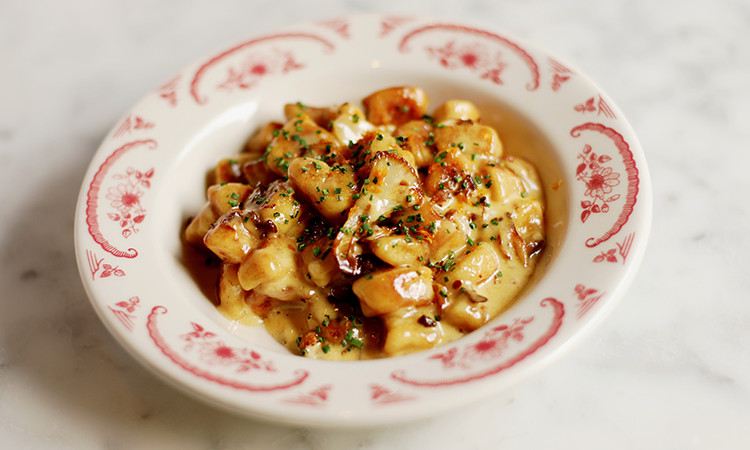 Gnocchi plated in a ceramic bowl
