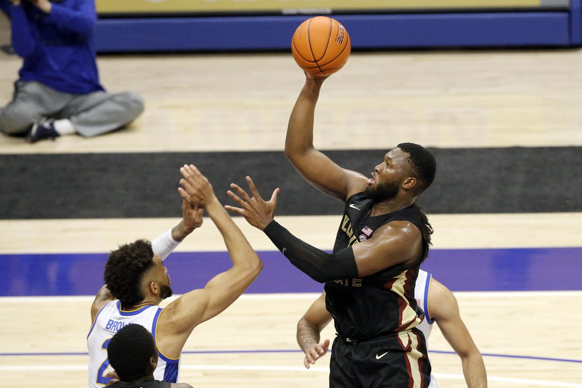 Florida State Seminoles forward RaiQuan Gray (1) shoots against Pittsburgh Panthers forward Terrell Brown (21) during the second half at the Petersen Events Center.
