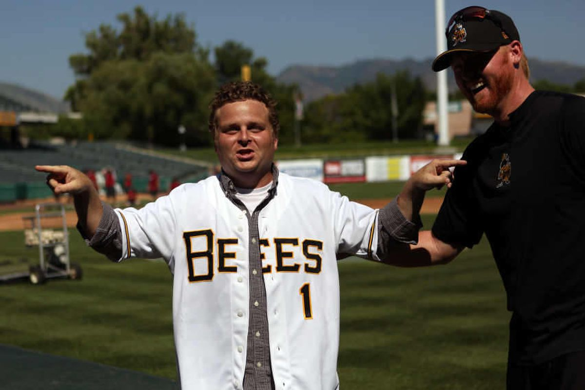 """Patrick Renna, who played Ham in the movie """"Sandlot,"""" jokes around with Bees players at Spring Mobile Ballpark in Salt Lake City on Friday, July 19, 2013."""
