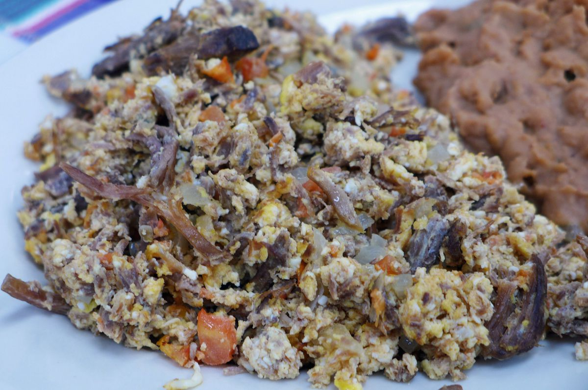 Egg scrambled with dried beef jerky.