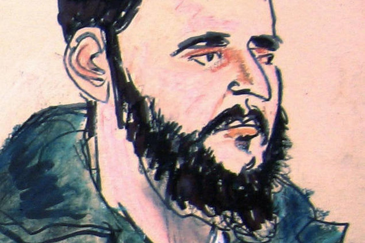 FILE - In this January 2010 file photo of a courtroom sketch, Adis Medunjanin, is seen at federal court in New York during his arraignment on terror charges. Opening statements in the case against Medunjanin are set for Monday, April 16, 2012 at federal c