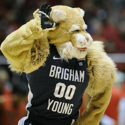 Cosmo mocks the Utes student body during a game at the Jon M. Huntsman Center on Saturday, December 14, 2013.