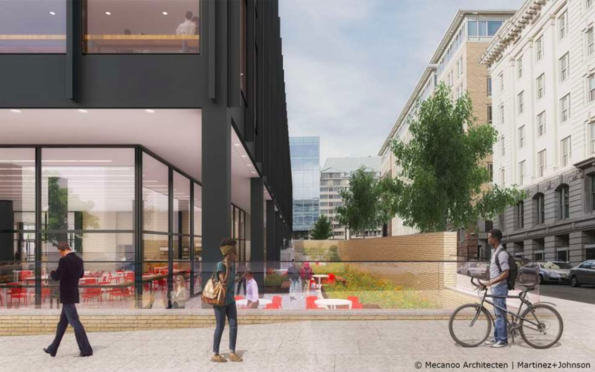 A rendering of the planned library cafe patio, showing white tables and red chairs and a few people on the street.