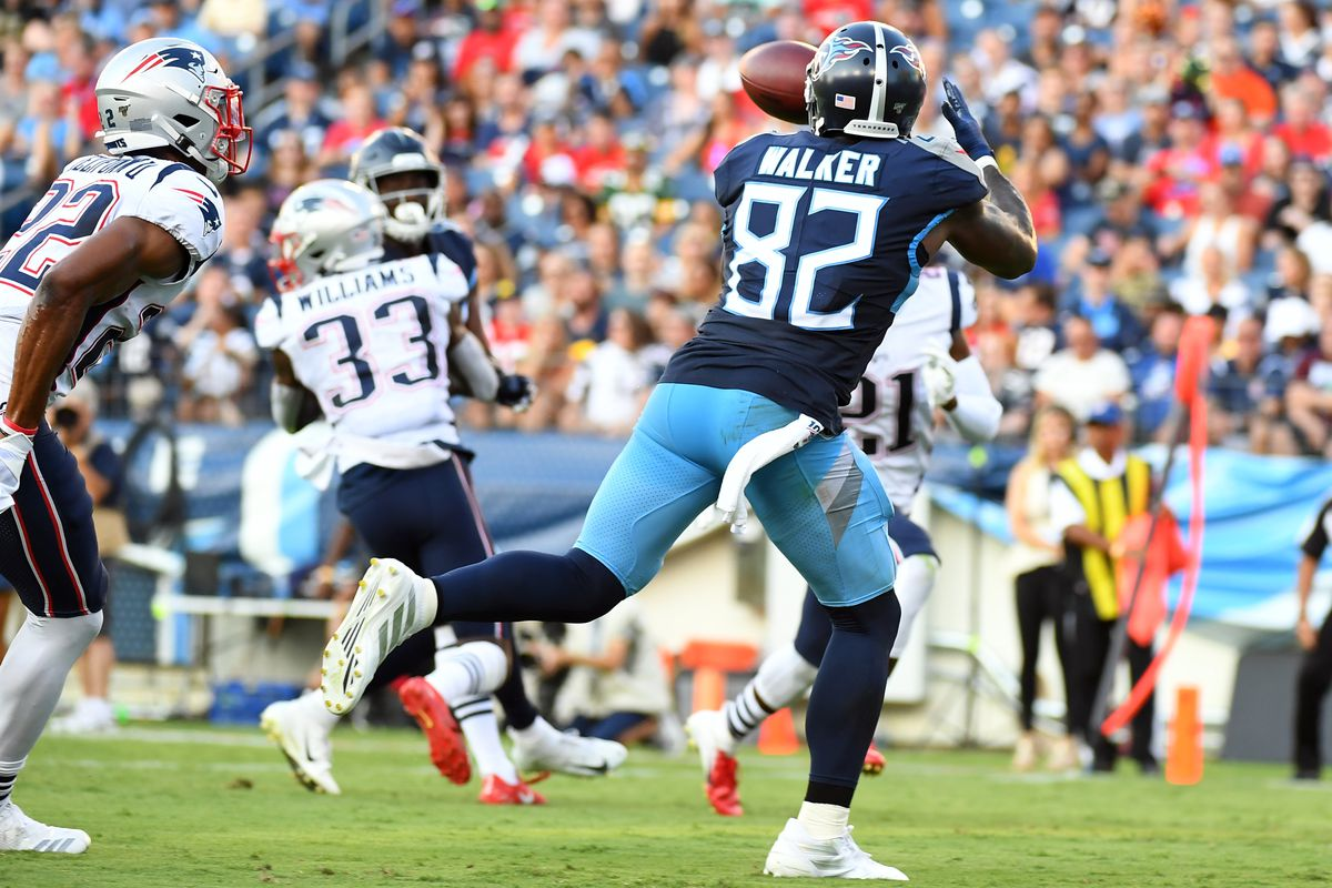 Tennessee Titans tight end Delanie Walker catches a touchdown pass during the first half against the New England Patriots at Nissan Stadium.