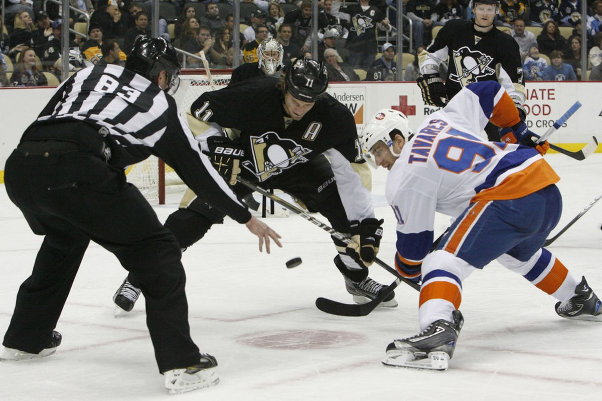 John Tavares and Jordan Staal face-off at the Jeff Norton & Rich Pilon Tribute Center in Pittsburgh, Penn.