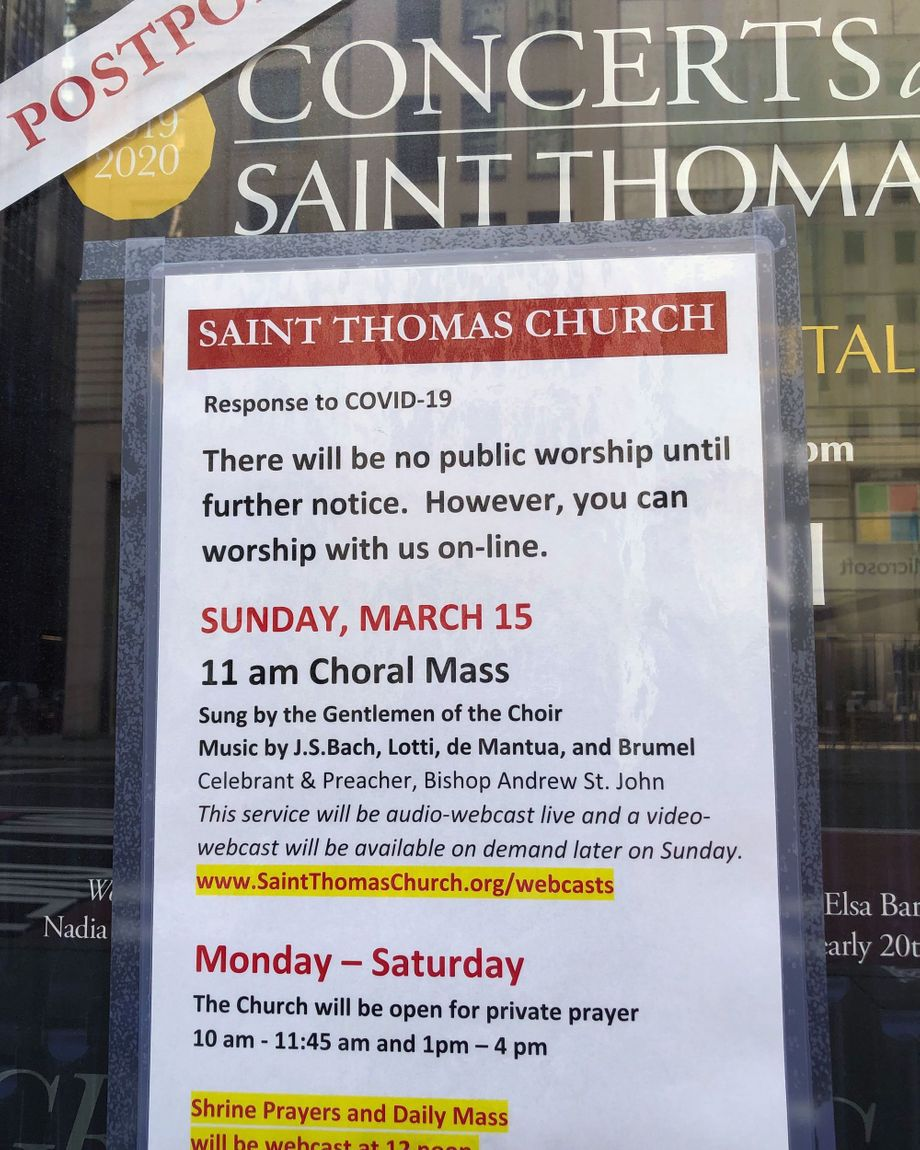 Services were canceled at the Episcopal St. Thomas Church Fifth Avenue due to coronavirus concerns.