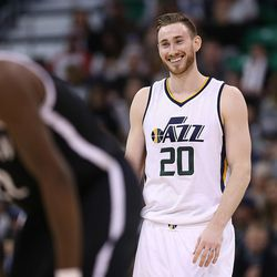 Utah Jazz forward Gordon Hayward (20) laughs as he and teammate Utah Jazz forward Joe Ingles (2) talk during a free throw as the Jazz and the Nets play at Vivint Smart Home arena in Salt Lake City  on Friday, March 3, 2017.