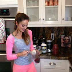 """""""I [also] use my nutribullet or Vitamix to make a superfood protein smoothie for an on-the-go meal replacement. I mix Vega protein powder with superfoods like gogi berries, cocoa, maca, hemp seeds, coconut and bee pollen. I add a few supplements like sili"""