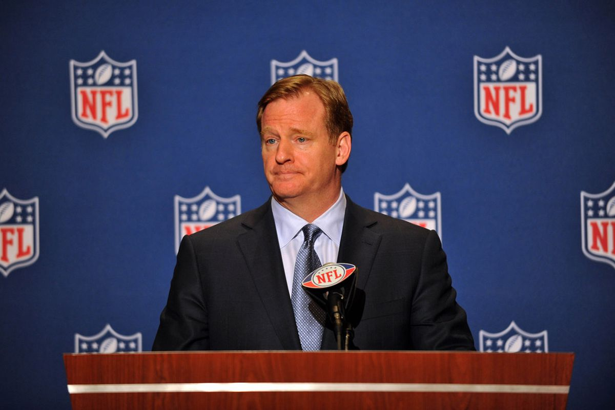 March 25,  2012; Palm Beach, FL, USA;  NFL commissioner Roger Goodell speaks during an press conference at the annual NFL meetings at the Breakers Hotel. Mandatory Credit: Steve Mitchell-US PRESSWIRE