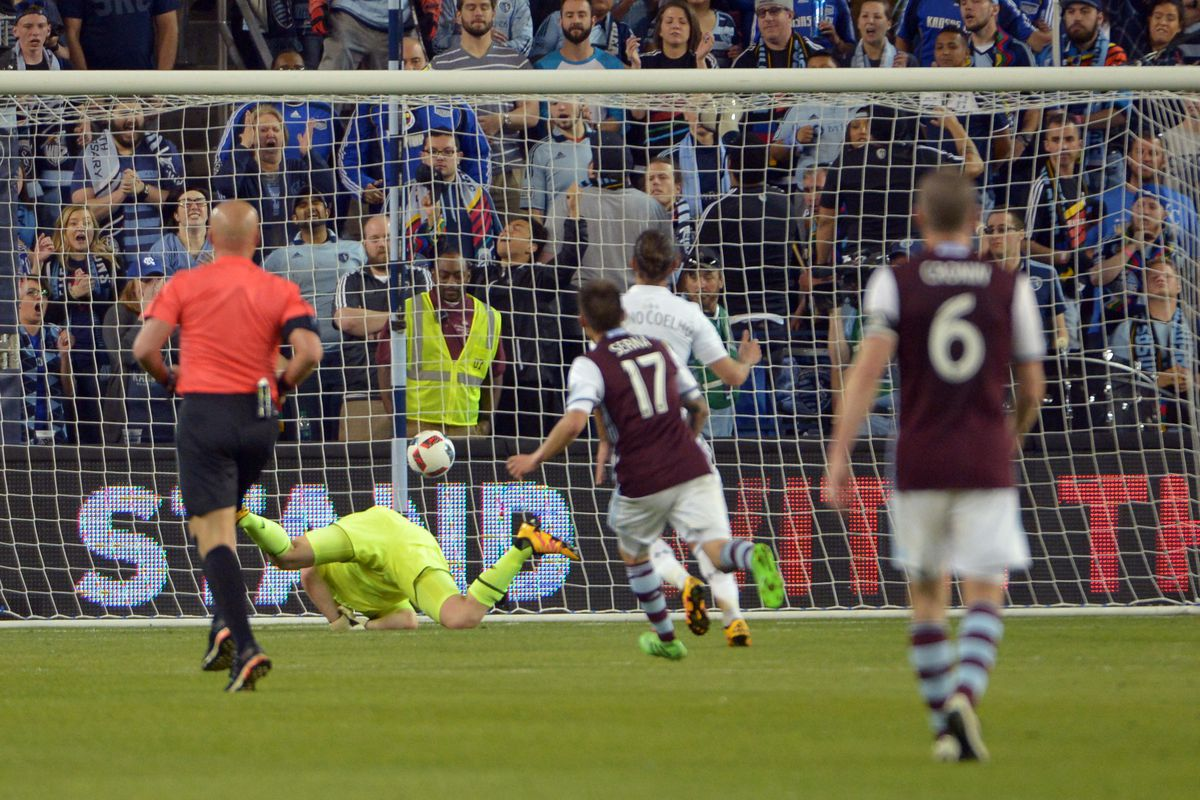 The ball getting past Tim Melia as Shkelzen Gashi scored the winner late in the match.