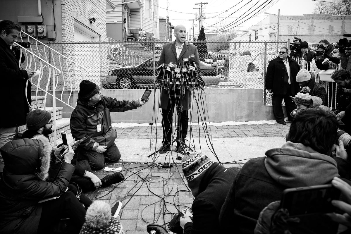 Sen. Cory Booker (D-NJ) announced his presidential run outside his home in Newark, New Jersey on February 1, 2019.