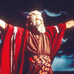 """Charlton Heston as Moses in the classic 1956 film """"The Ten Commandments,"""" which blends biblical accounts with fanciful fiction."""
