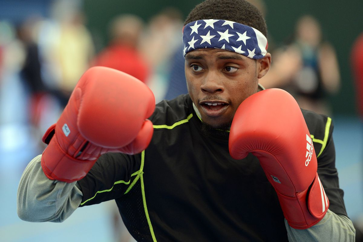 July 26, 2012; London, GBR; USA Men's welterweight Errol Spence , from Desoto, TX , trains in preparation for the 2012 London Olympic Games at the SCORE training facility. Mandatory Credit: John David Mercer-USA TODAY Sports