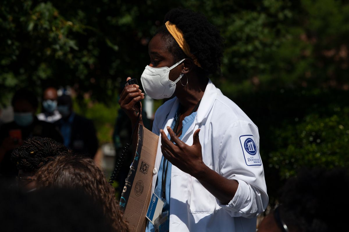 Resident physician Dr. Opokua Amoabeng spoke at a rally about saving gynecologic oncology services at Kings County Hospital Center, June 29, 2020.