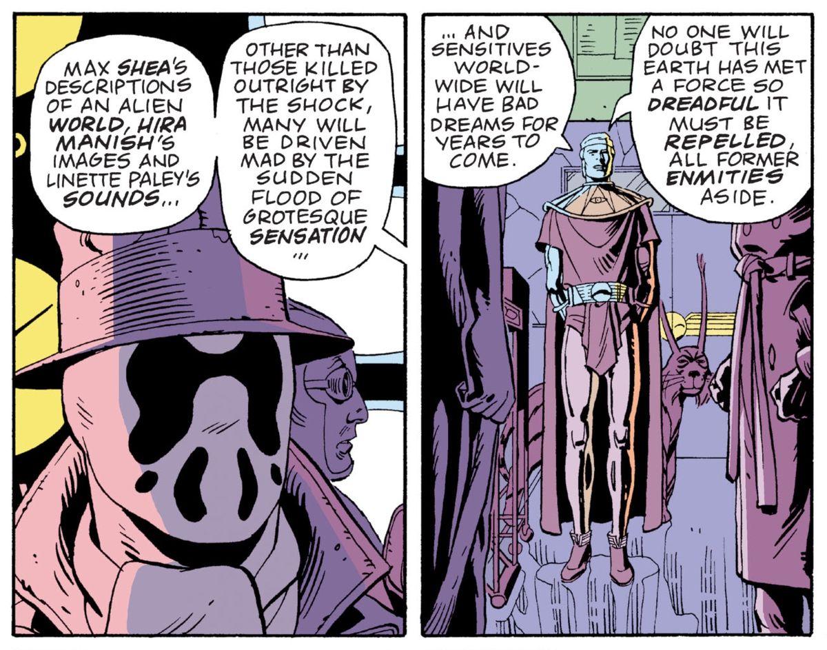 Adrian Veidt/Ozymandias explains the effect of his squid plan to Rorschach and Nite Owl in Watchmen, DC Comics (1987).