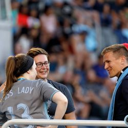 July 17, 2019 - Saint Paul, Minnesota, United States - New Minnesota United signing Robin Lod has a chat with capos of the Wonderwall during halftime of the Minnesota United vs Aston Villa FC international friendly match at Allianz Field.
