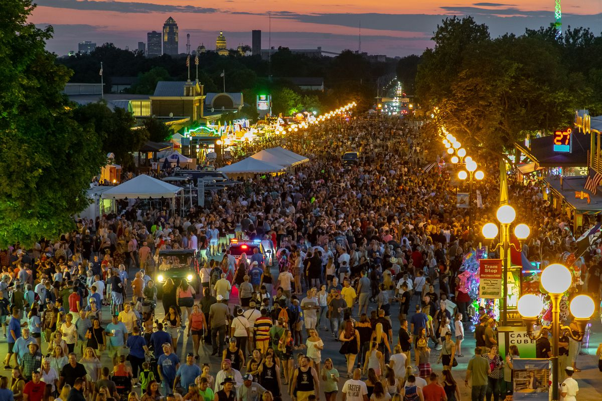An overhead view of the Iowa State Fair concession stands at dusk.
