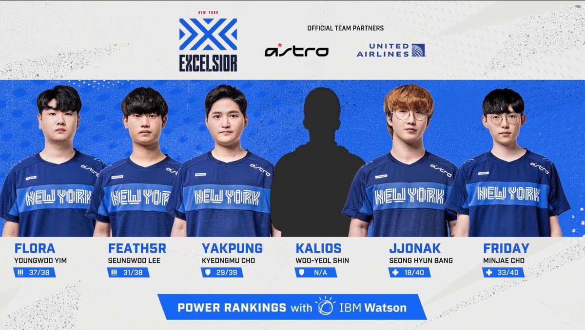 A still of the New York Excelsior from a July 31 broadcast of the Overwatch League