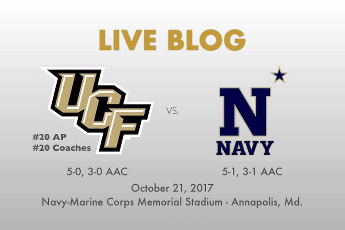 UCF takes on Navy in Annapolis at 3:30 p.m. on Saturday, October 21.