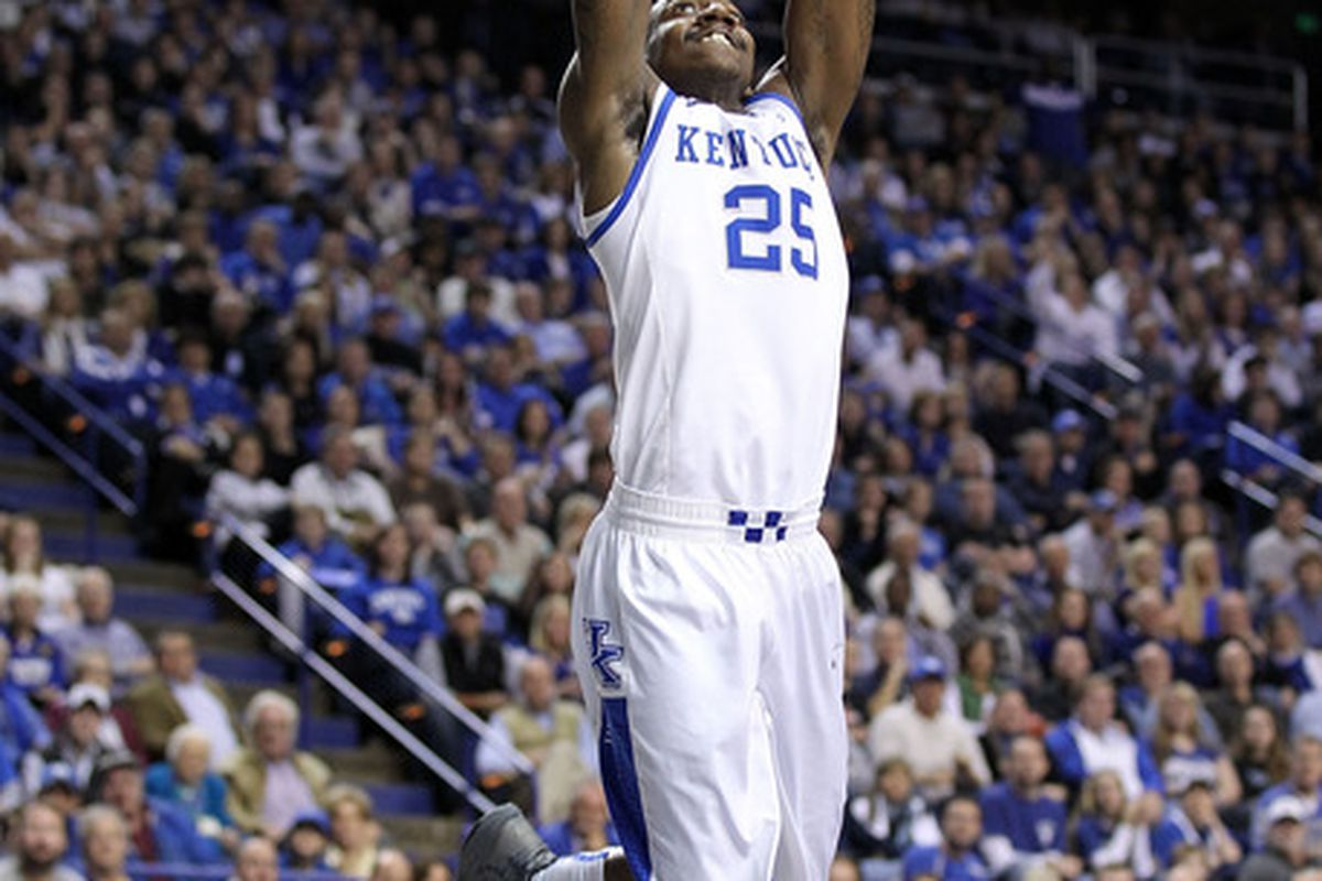 LEXINGTON, KY - NOVEMBER 26:  Marquis Teague #25 of the Kentucky Wildcats shoots the ball during the game against the Portland Pilots at Rupp Arena on November 26, 2011 in Lexington, Kentucky.  (Photo by Andy Lyons/Getty Images)