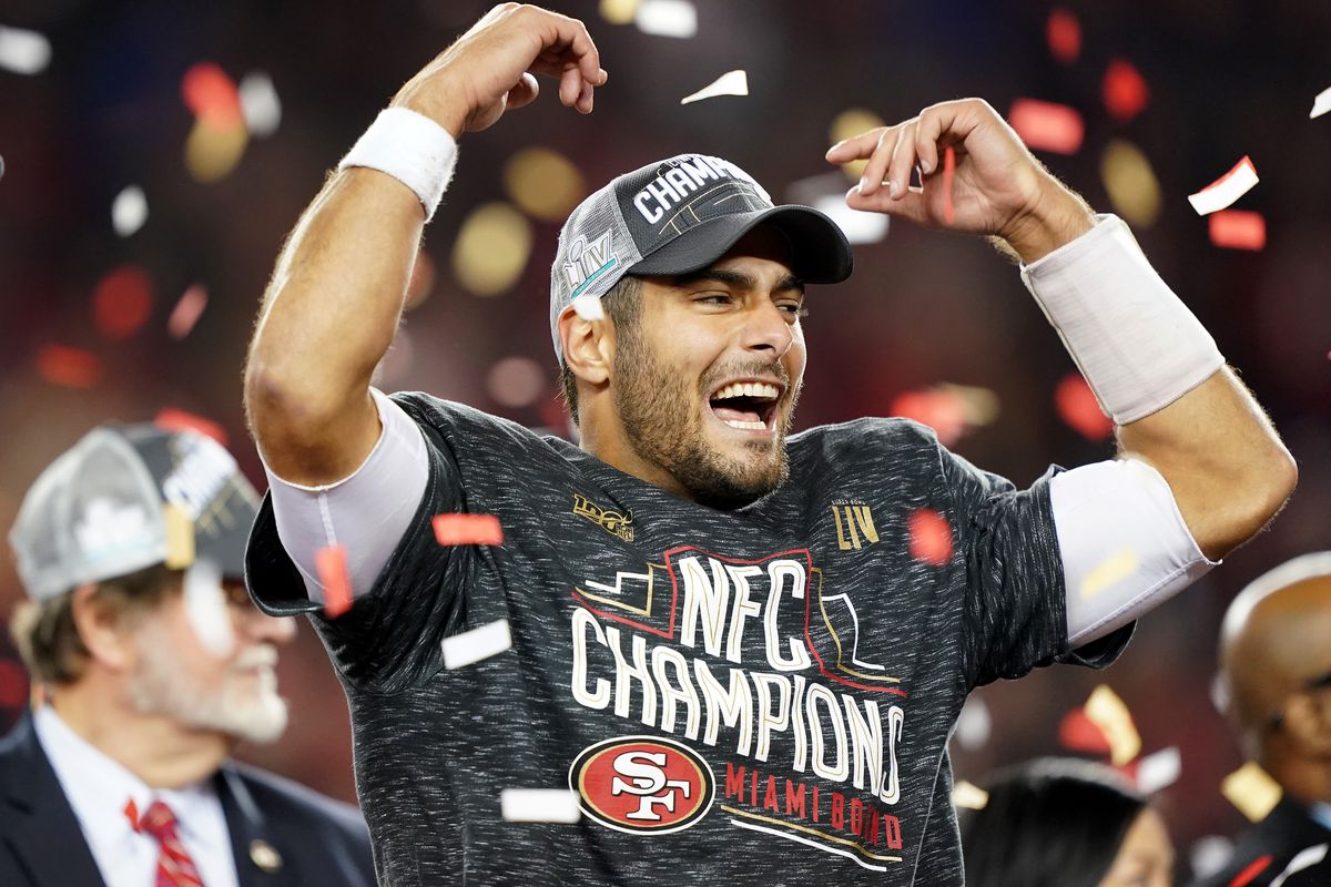 Jimmy Garoppolo #10 of the San Francisco 49ers celebrates after winning the NFC Championship game against the Green Bay Packers at Levi's Stadium on January 19, 2020 in Santa Clara, California. The 49ers beat the Packers 37-20.