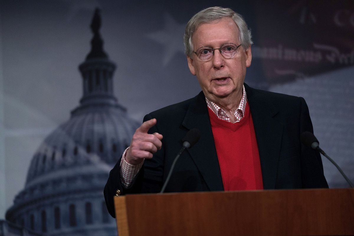 Mitch McConnell Holds A Media Availability At The Capitol