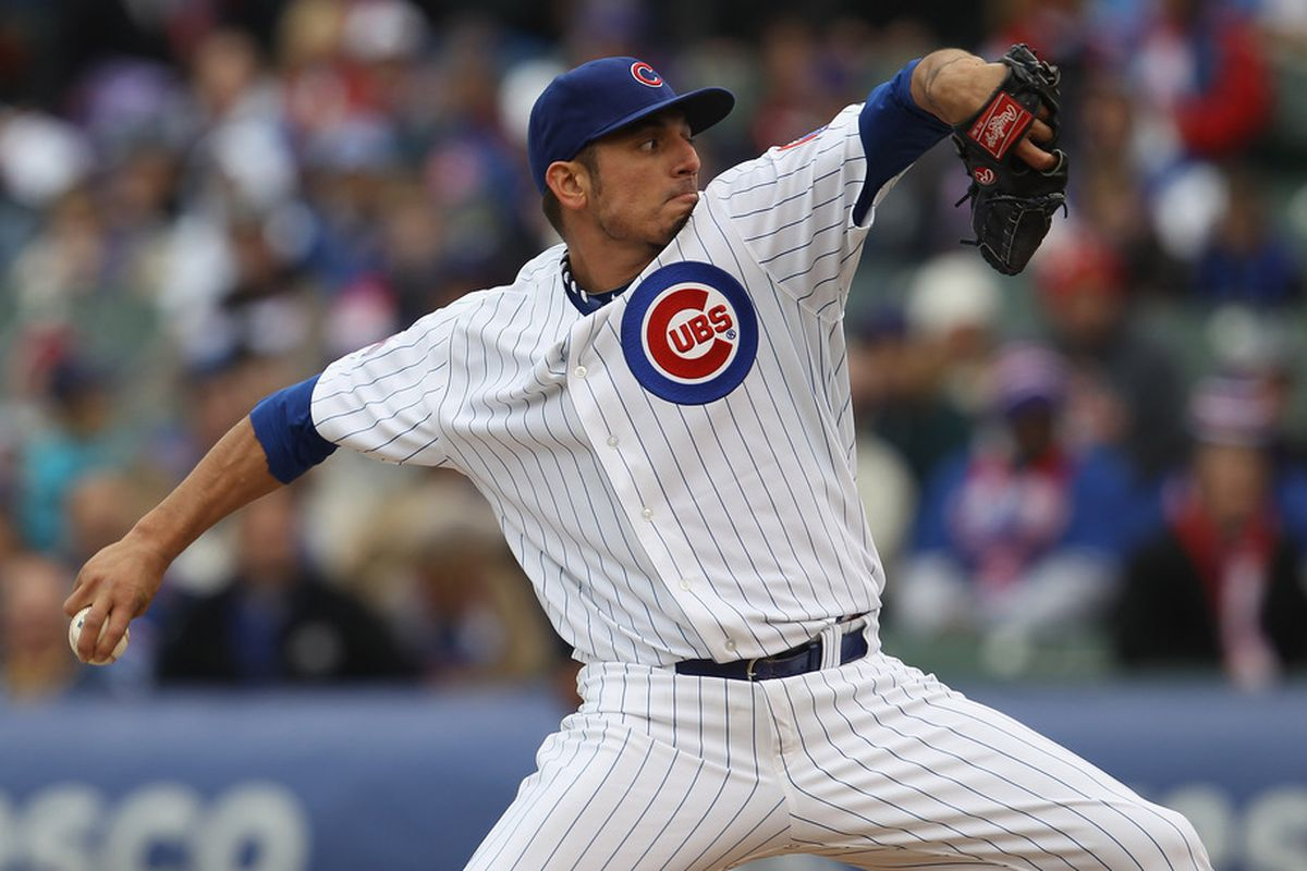 CHICAGO, IL - APRIL 20: Strating pitcher Matt Garza #17 of the Chicago Cubs delivers the ball against the San Diego Padres at Wrigley Field on April 20, 2011 in Chicago, Illinois. (Photo by Jonathan Daniel/Getty Images)