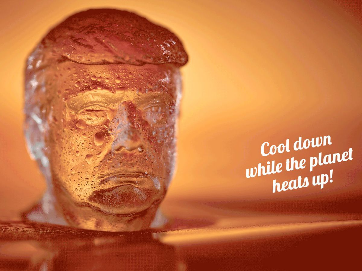 An ice cube in the likeness of President Donald Trump.   Trumptrays.com