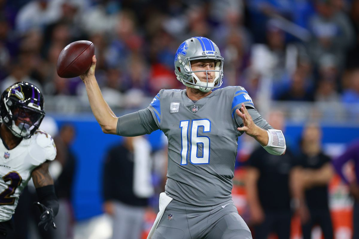 Jared Goff of the Detroit Lions throws a pass during the third quarter in the game against the Baltimore Ravens at Ford Field on September 26, 2021 in Detroit, Michigan.