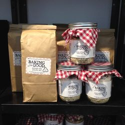 All baking goods are 50% off. Peach cobler cookie mix and chocolate chip pancake mix are both $6.