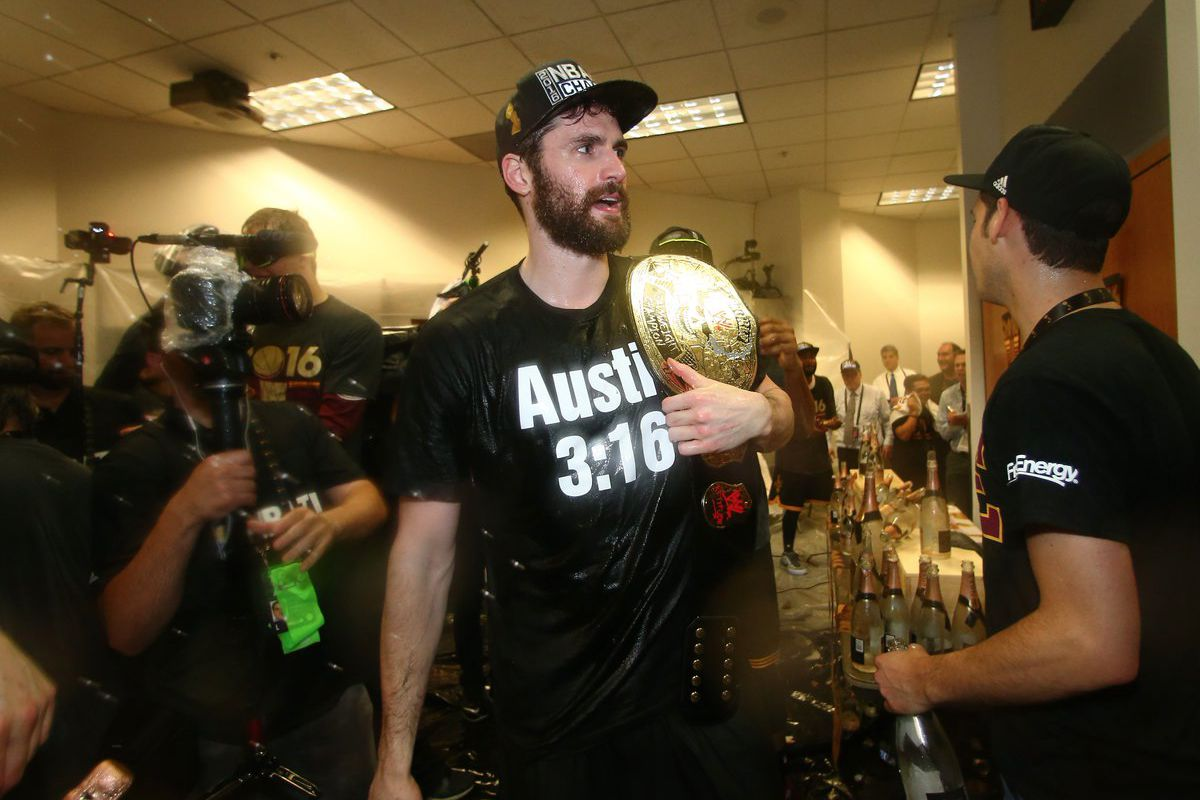 e0c2821a9e52 Not to be outdone by LeBron James' Undertaker, Kevin Love goes all Stone  Cold Steve Austin for Cleveland Cavaliers NBA Championship celebration