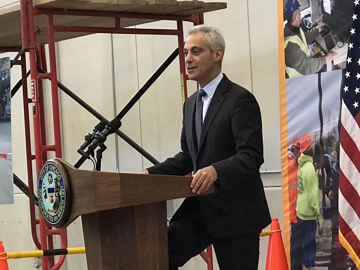 """An express train service to O'Hare International Airport will get built, Mayor Rahm Emanuel vowed Thursday. It would """"pay dividends for generations to come,"""" the mayor said. 