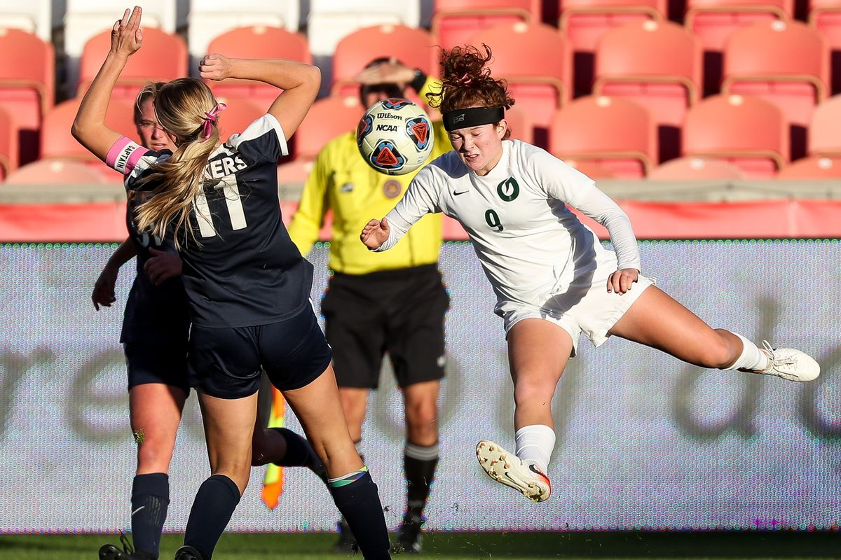 Bonneville's Gabby Carlson blocks a shot-on-goal by Olympus' Emma Neff, right, in the 5A girls soccer state championship at Rio Tinto Stadium in Sandy on Friday, Oct. 23, 2020.