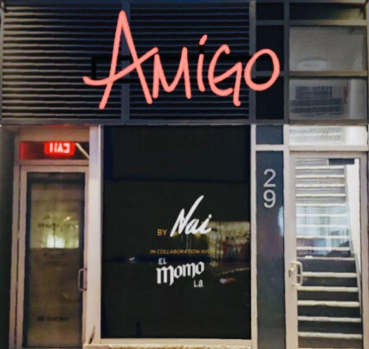 An outside photo of the new restaurant Amigo